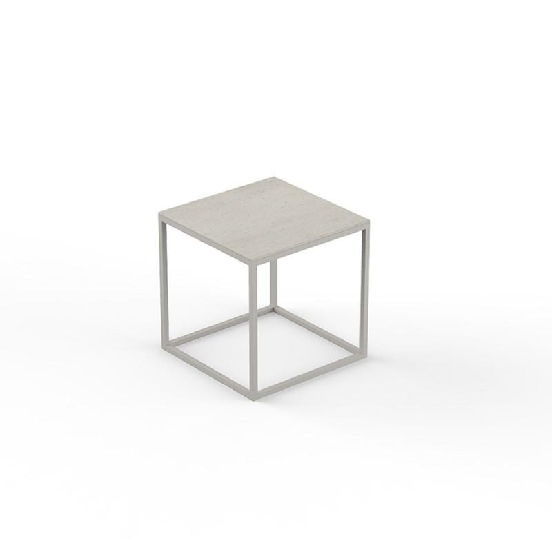 petite table basse carree pixel 40x40xh25cm vondom dekton danae ecru et pieds ecru