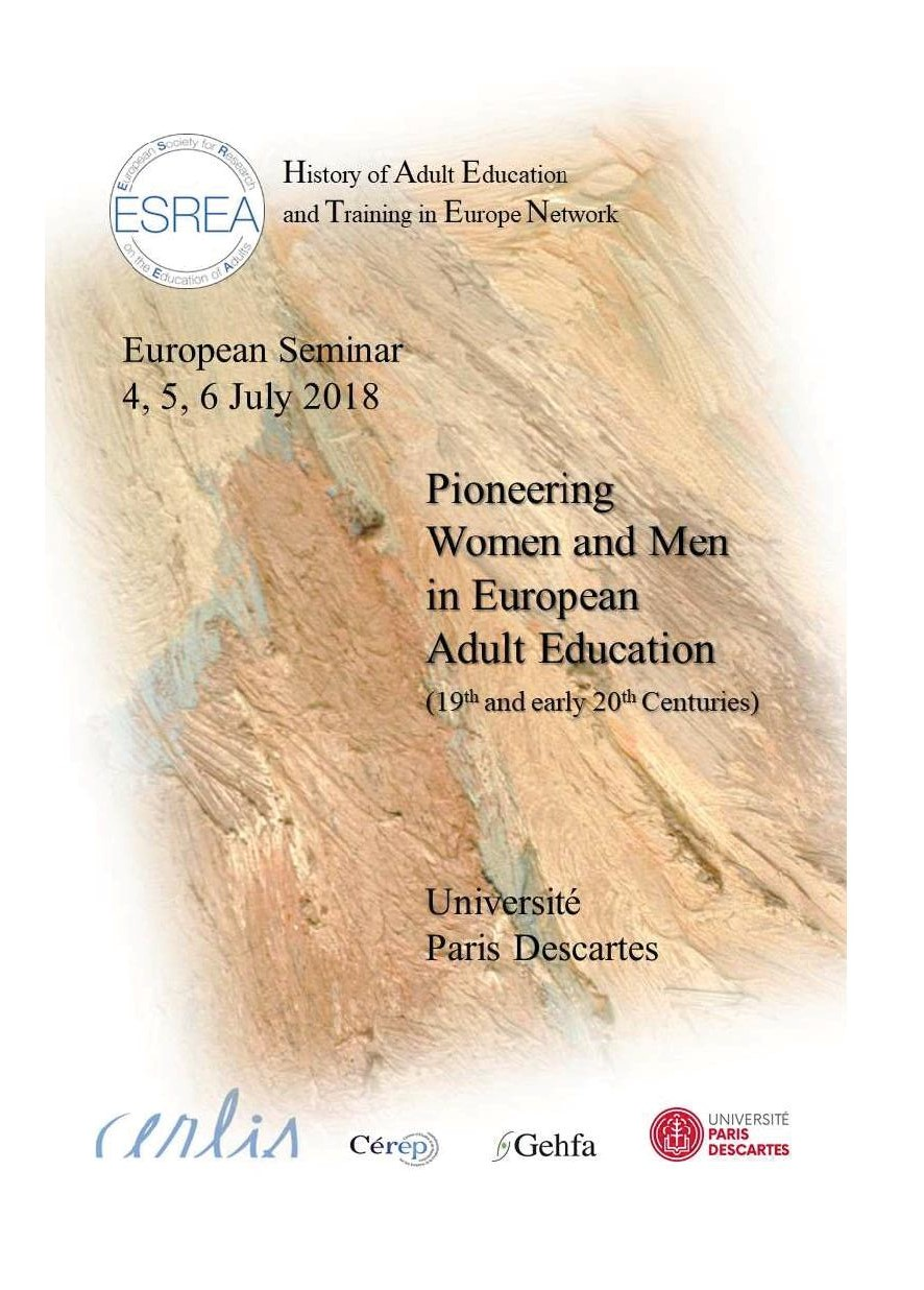 """<strong>Les 4-5-6 juillet</strong> &#8211; Séminaire ESREA """"Pioneering women and men in European adult education (19th and 20th Centuries)"""""""