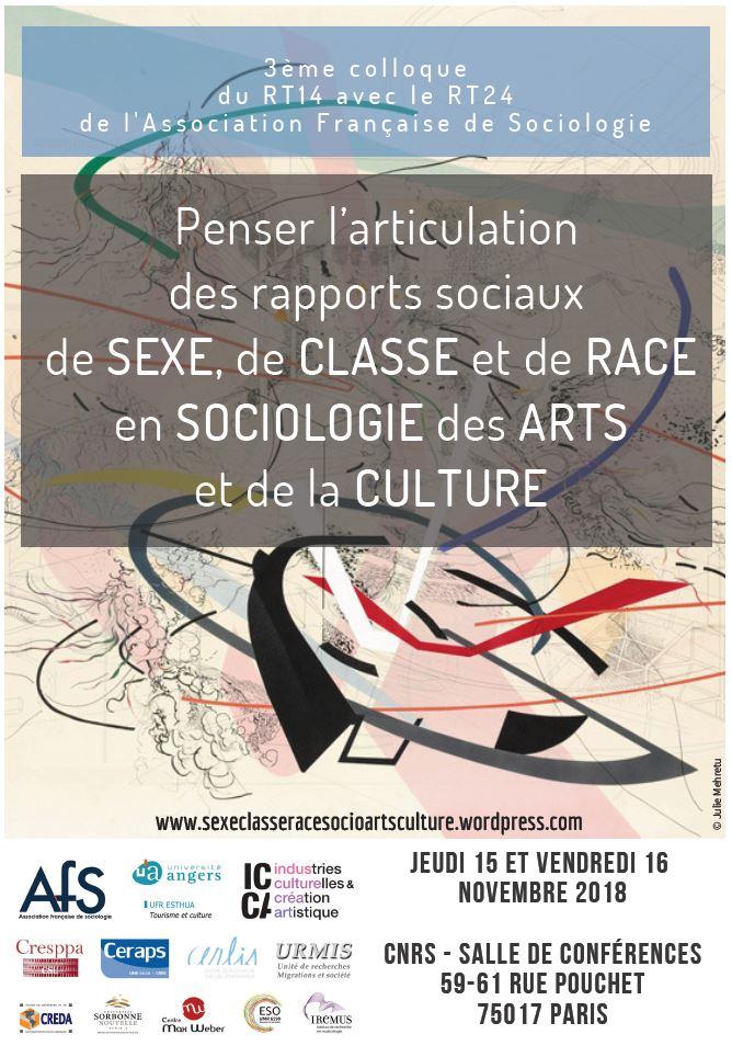 <strong>Les 15-16 novembre</strong> &#8211; Colloque &#8220;Penser l&#8217;articulation des rapports sociaux de sexe, de classe et de race   en sociologie des arts et de la culture&#8221;