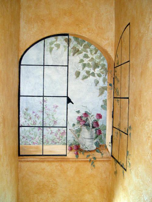 Animal House Wallpaper Trompe L Oeil Windows Muralist Debbie Cerone Wall Murals