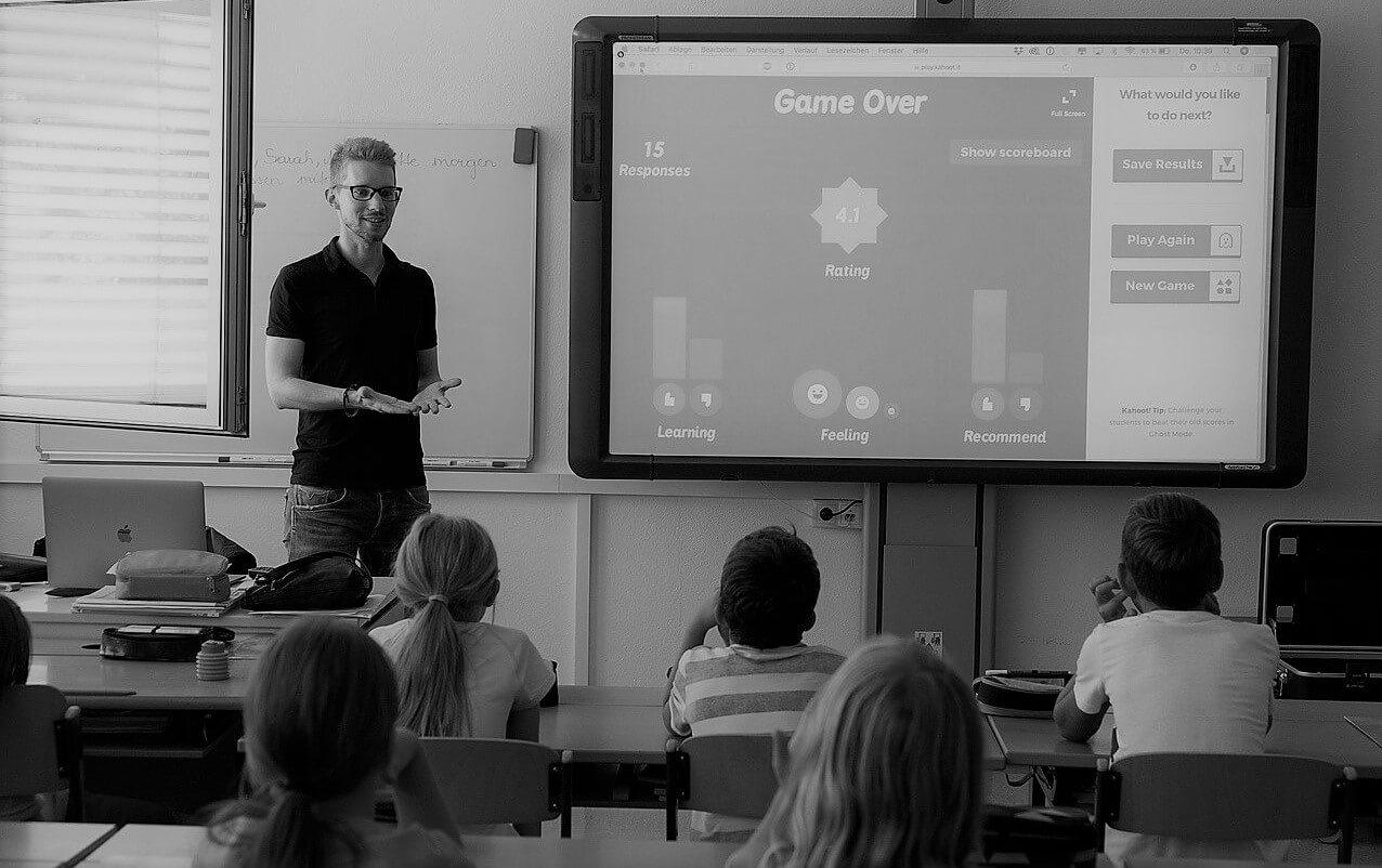 teacher in smart classroom