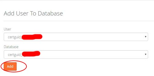 Step 5iv add MySQL user to database