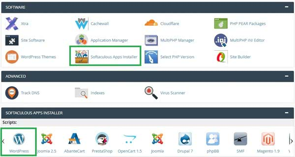 Softaculous cpanel dashboard