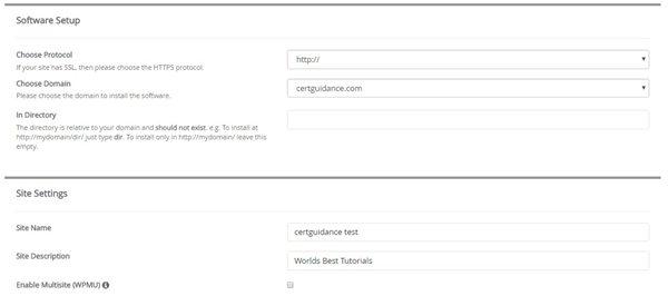 Softaculous WordPress site url directory