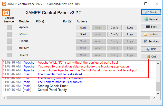 XAMPP Apache Port Error