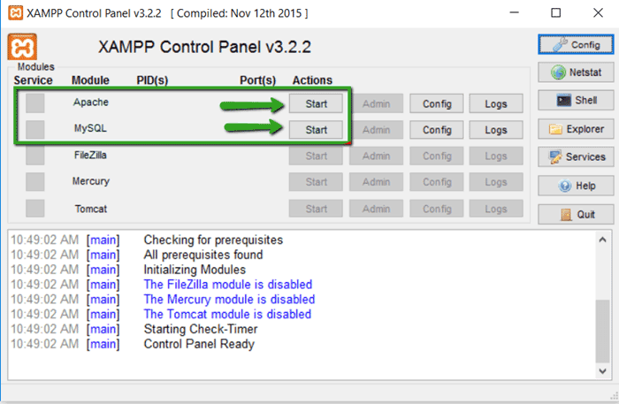 Running XAMPP Web Server