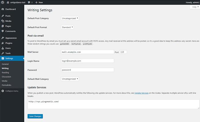 WordPress Writing Settings Page