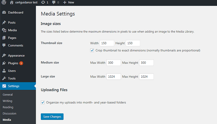 WordPress Media Settings page