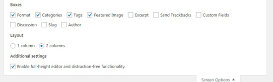 Post Screen Options in WordPress