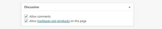 WordPress Page Discussion Meta box