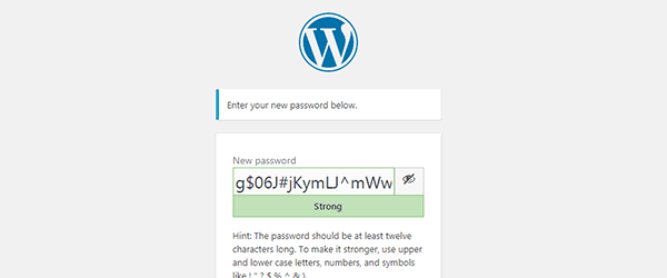 Enter New Password Box of WordPress