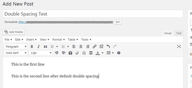 Double Line Spacing in WordPress