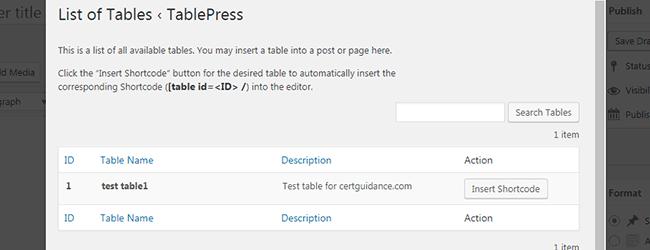 Insert table shortcode in WordPress visual editor