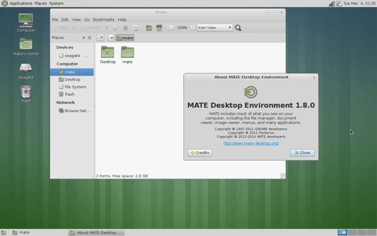 MATE_Desktop_Environment_1.8_-_About O que as distribuições Linux tem em comum?