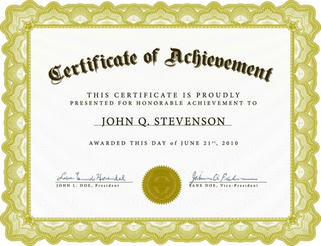 Certificate Well Done Job Template