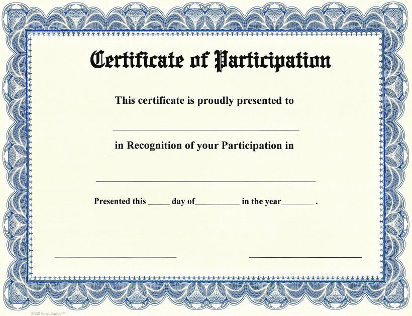 Printable Participation Templates Certificate Templates