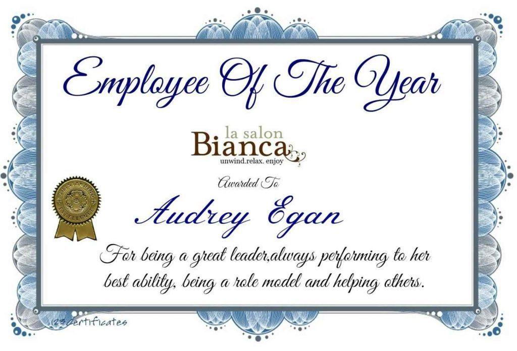 employee of the year award certificate