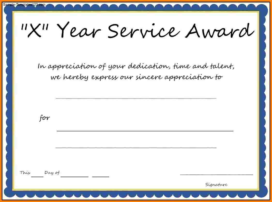 Service Awards Certificates Template