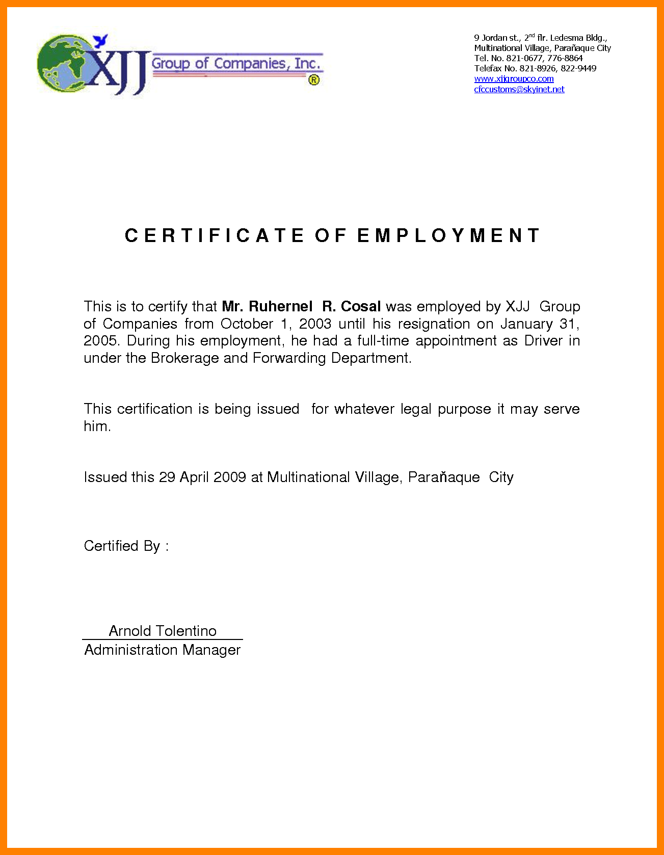 Certificate Of Employment Sample – certificates templates free