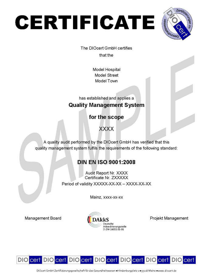 Iso 9001 Certificate Sample