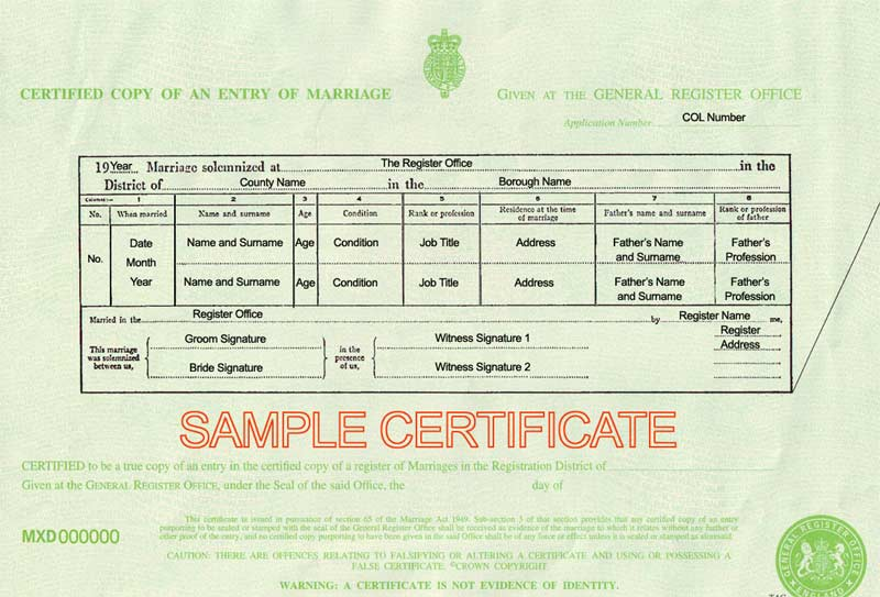 Marriage Certificate Uk Certificates Templates Free
