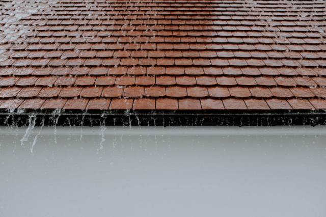 wet roof during rainy day