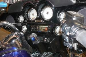 Harley Davidson motorcycle with aftermarket stereo & Handle bar controls