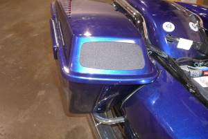 Harley Saddlebag with custom speaker mount and grill in lid.