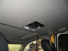 Headliner is prepared for the overhead installation and wiring is run.