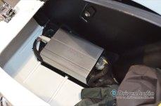 Bluetooth Amplifier mounted in side bag of Moto Guzzi Motorcycle