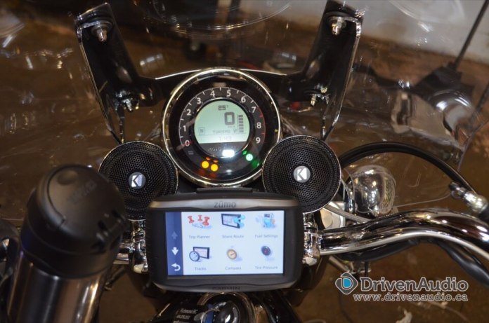 Handlebar Speakers on Moto Guzzi California Motorcycle in Abbotsford