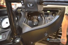 Victory Motorcycle Audio Upgrade - Speakers mounted in fairing with machined adapters.