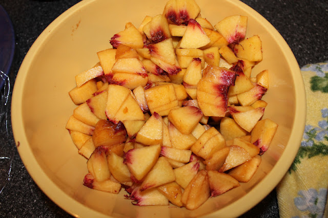 Bowl Of Cut Up Peaches
