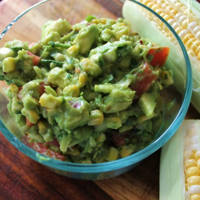 grilled corn guacamole and ears of corn