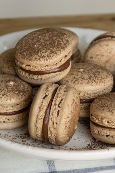 Nutella Macarons - A classic chewy french cookie made with chocolate hazelnut spread (Nutella).