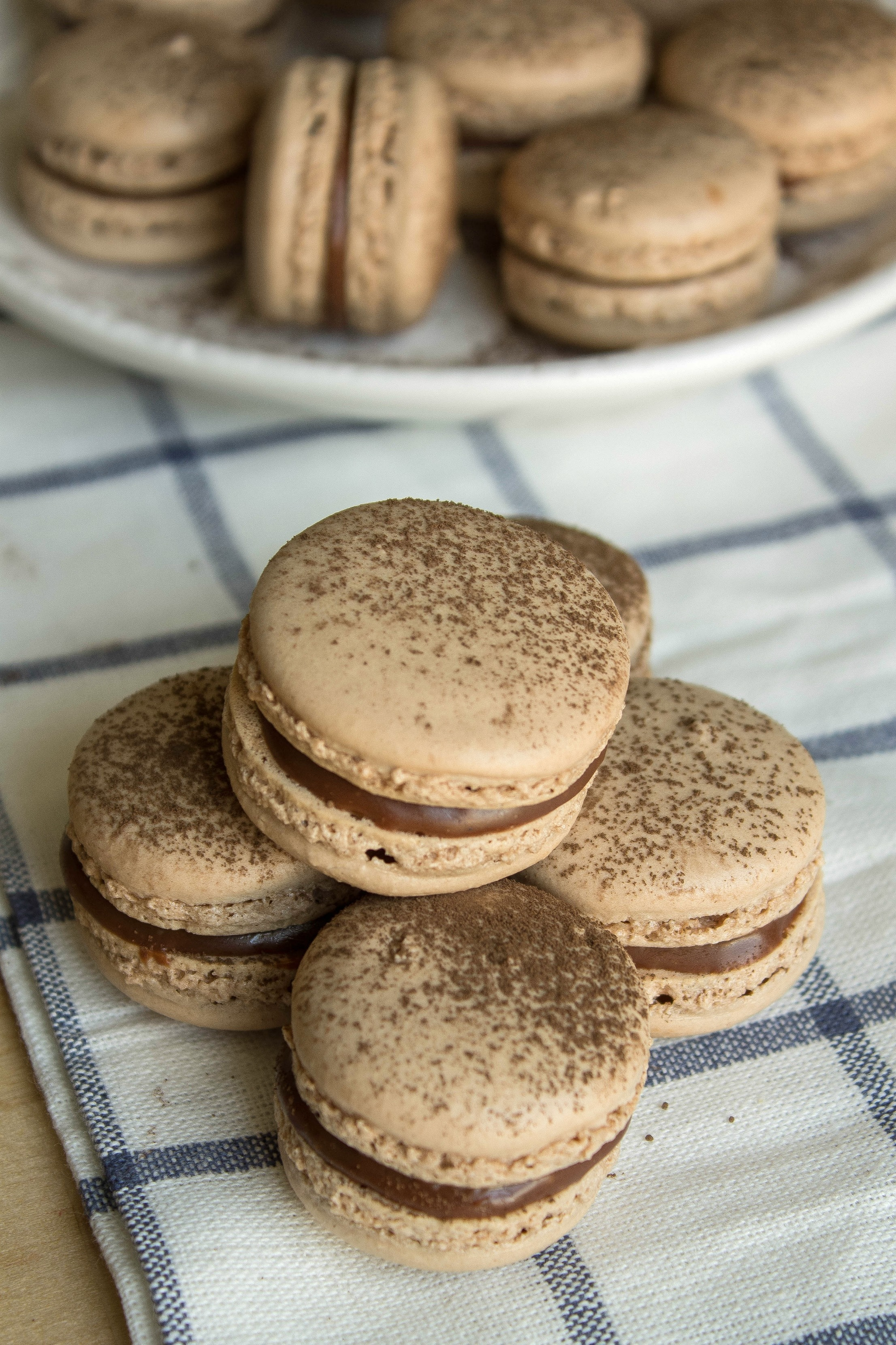 stack of nutella macarons