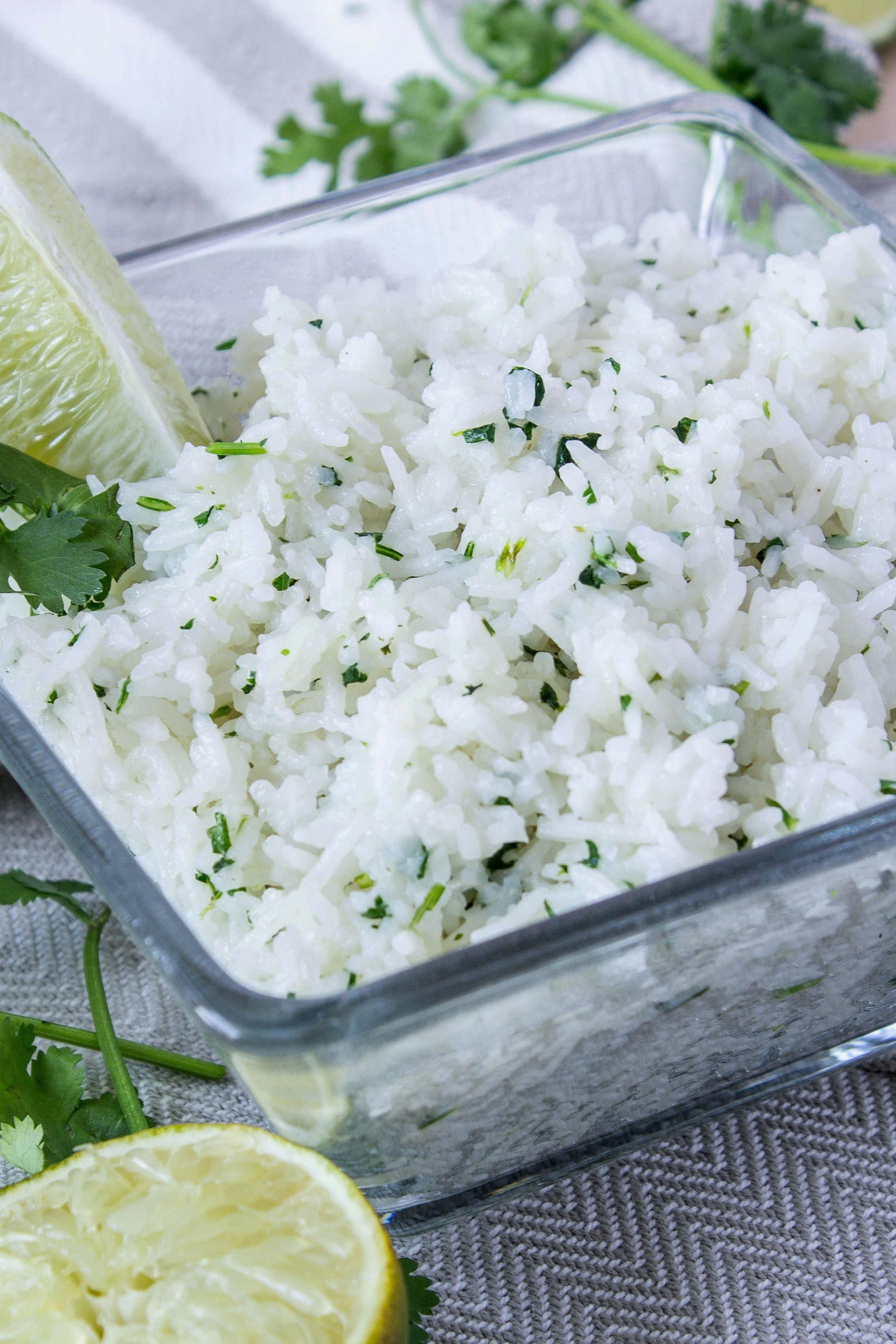 Closeup of cilantro lime rice
