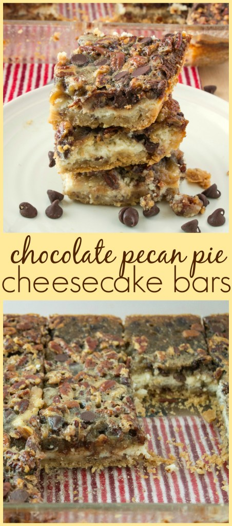 collage of Chocolate Pecan Pie Cheesecake Bars