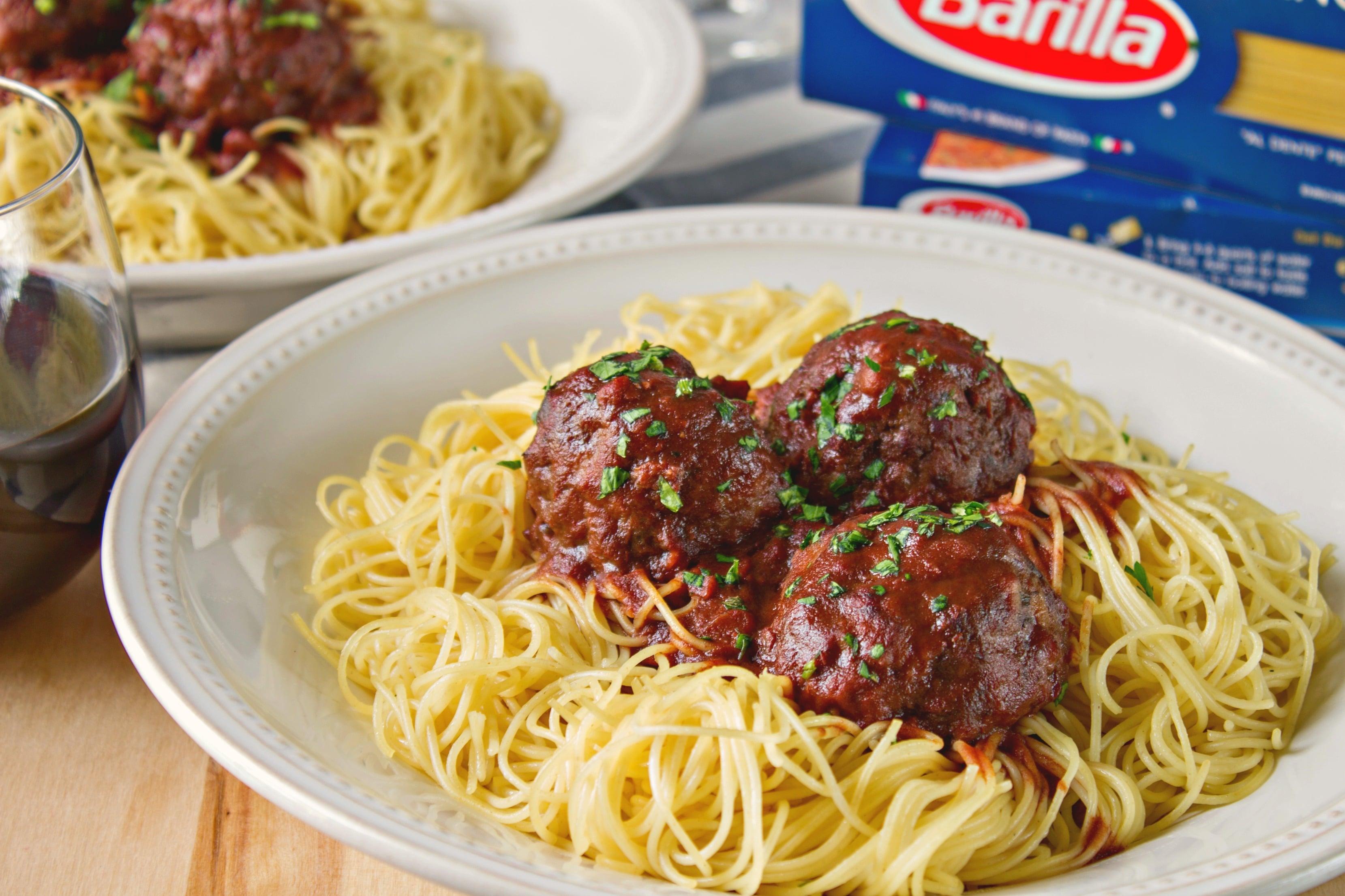 Plate of Drunken Spaghetti Meatballs