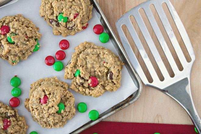 Monster Cookies - Super chewy oatmeal cookies with peanut butter, M&M candies, and chocolate chips. And naturally they're gluten free!
