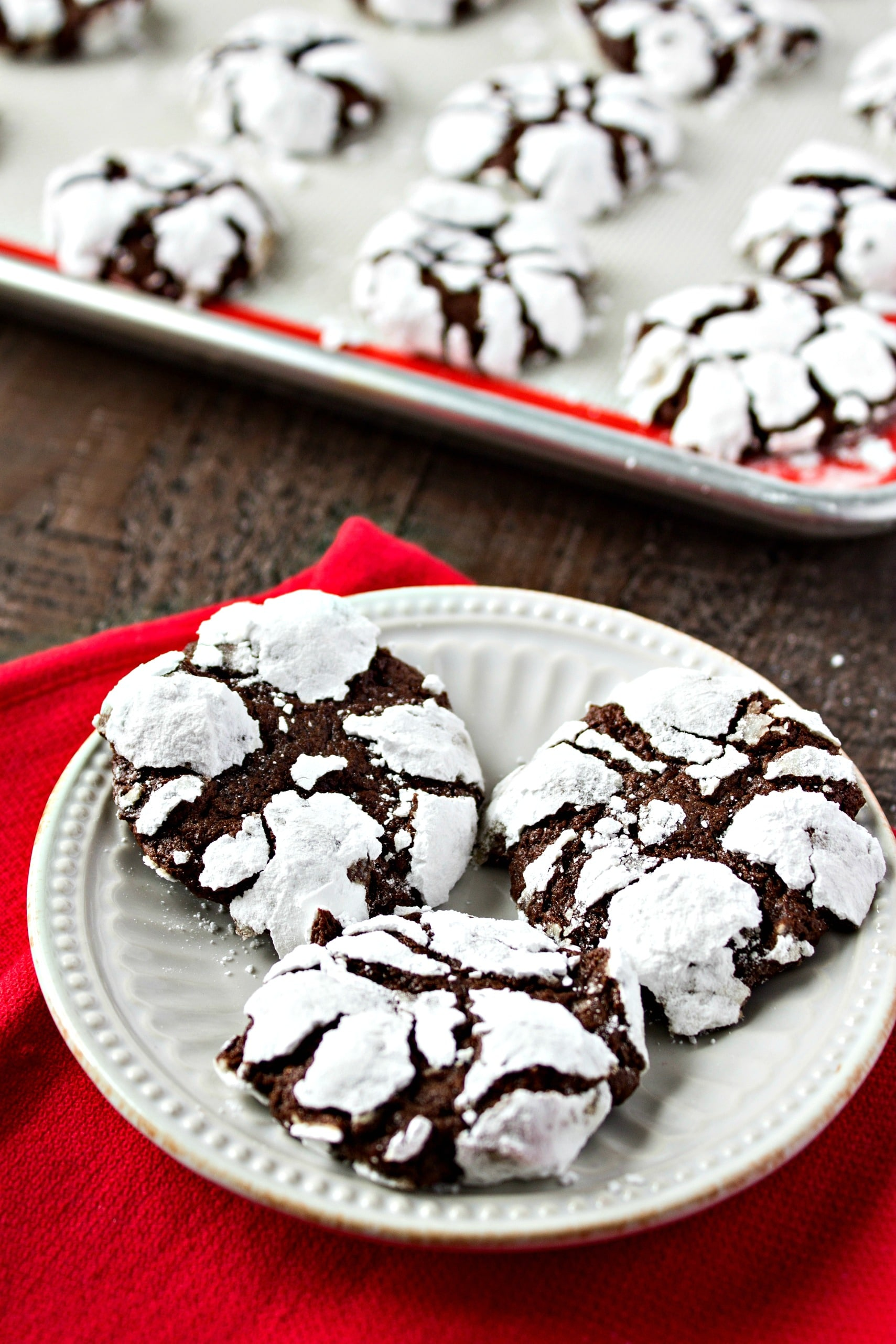 Chocolate Espresso Snowcaps - A chewy, chocolate cookie with a hint of espresso and then rolled in powdered sugar. They'll remind you of little bites of brownie but with a little wintery snow on top.