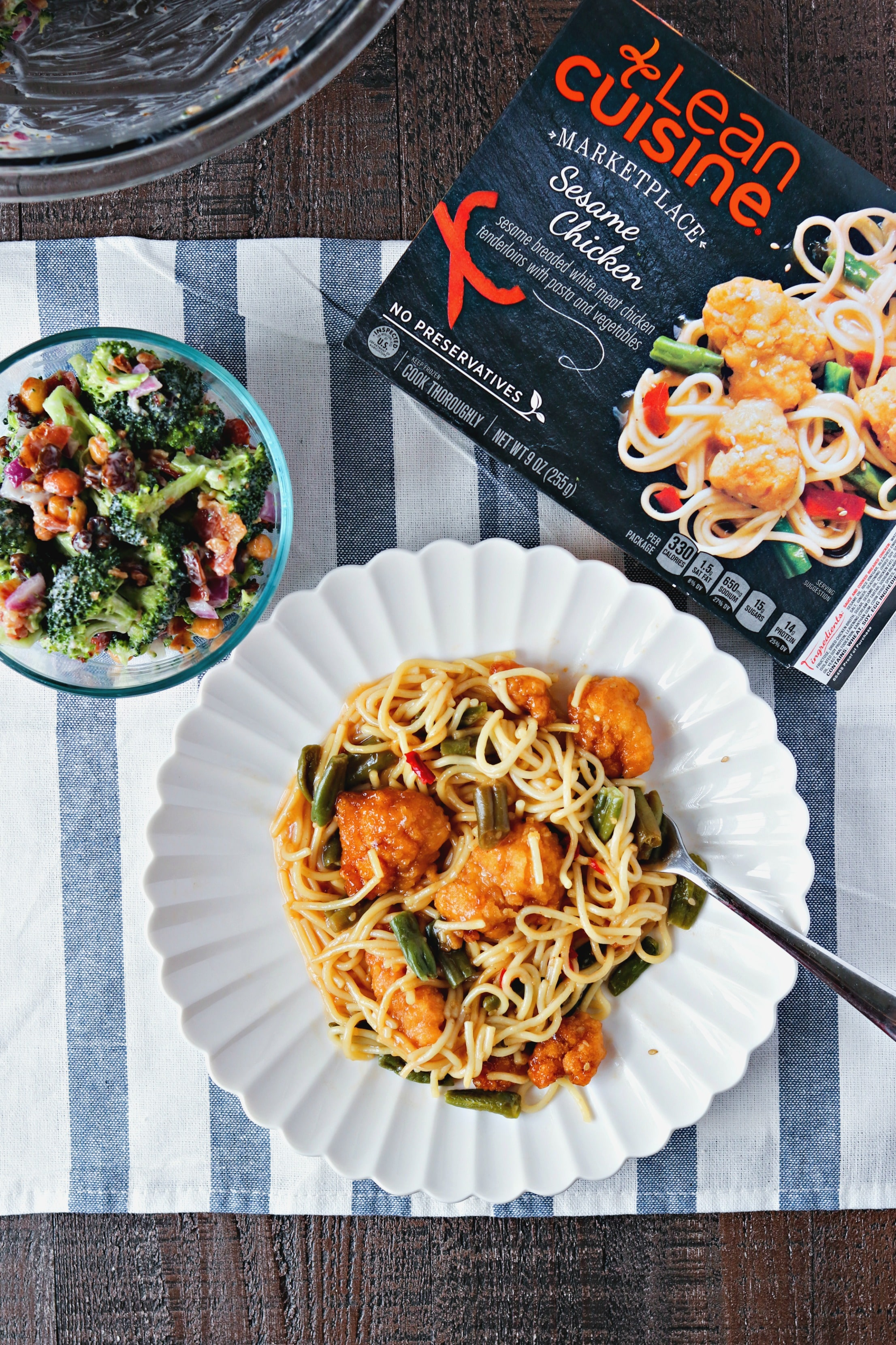 Lean Cuisine Sesame chicken and Fresh Broccoli Salad with Crispy Bacon