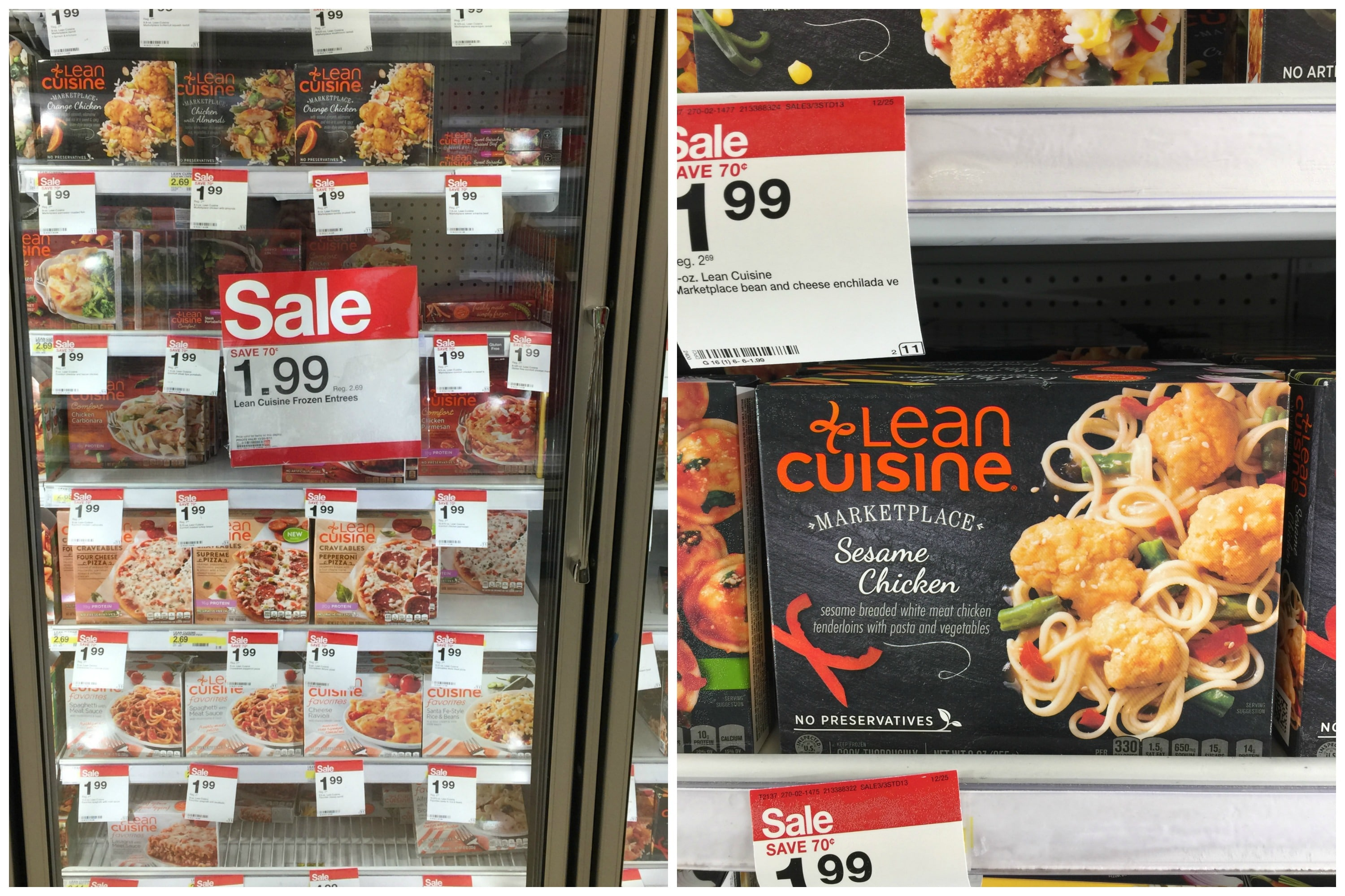 Grocery store aisle with Lean Cuisine meals in the freezer on sale
