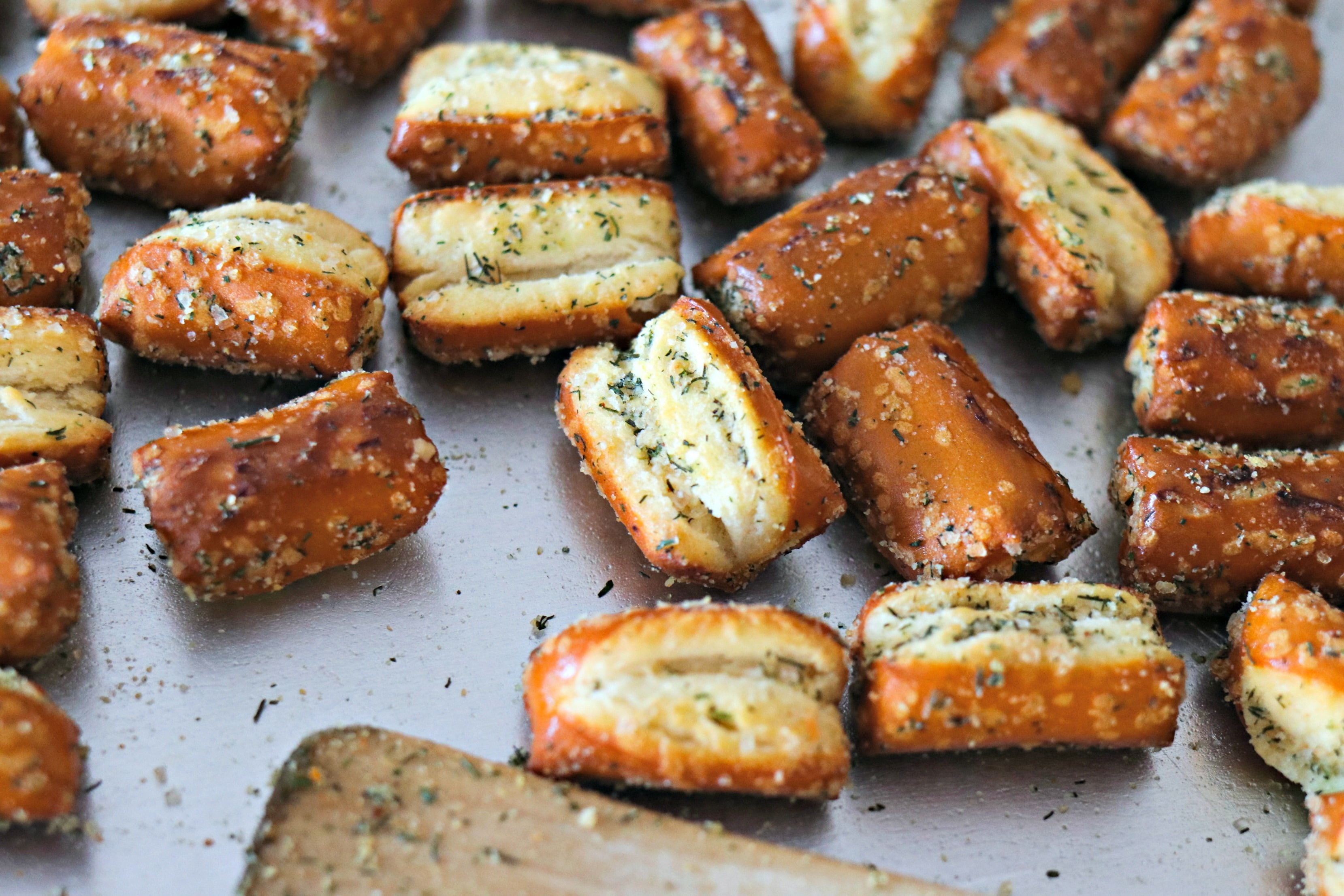 Closeup of Easy Garlic Parmesan Pretzels