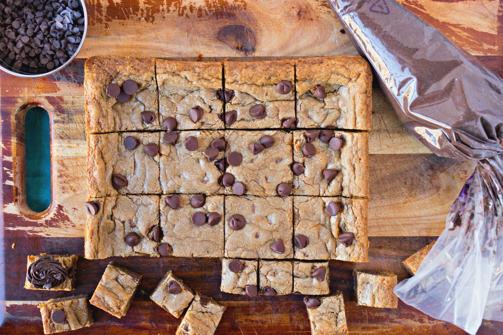 Chocolate Chip Cookie square cut into smaller squares