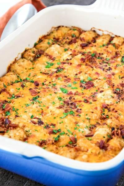 casserole dish of Cheesy Tater Tot Breakfast Casserole