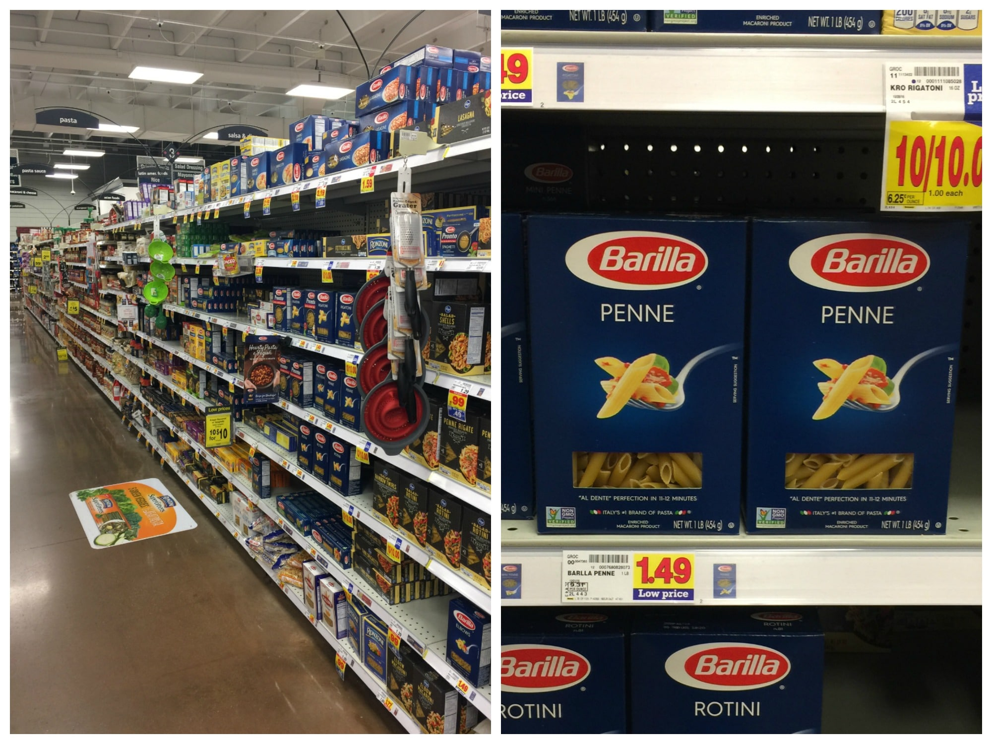 Supermarket aisle and Barilla Penne pasta on sale