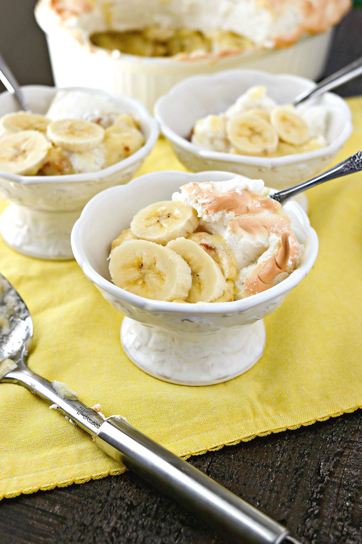 Three dishes of Warm Banana Pudding