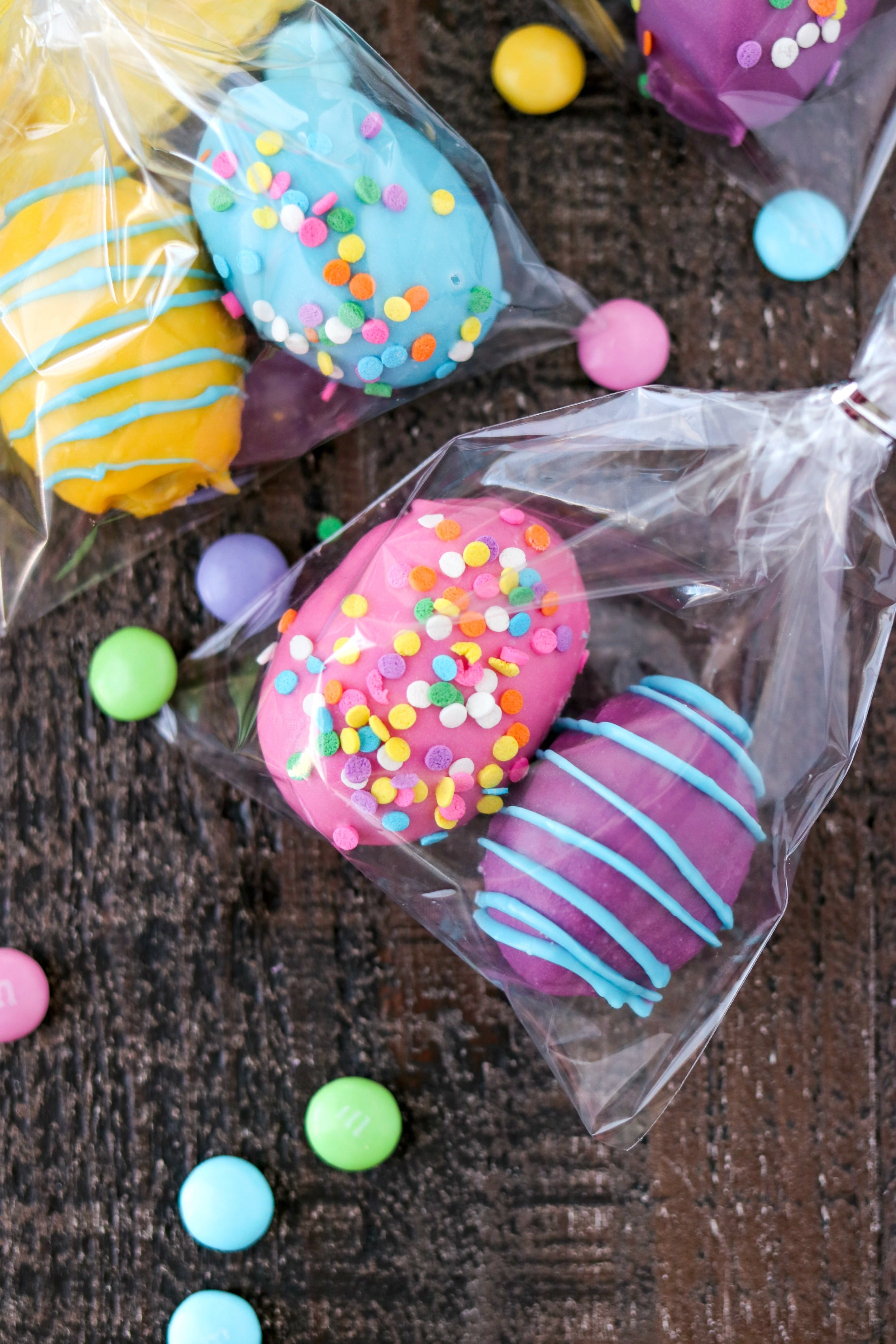 Two Cookie Dough Easter Eggs with M&M'S® packaged in plastic