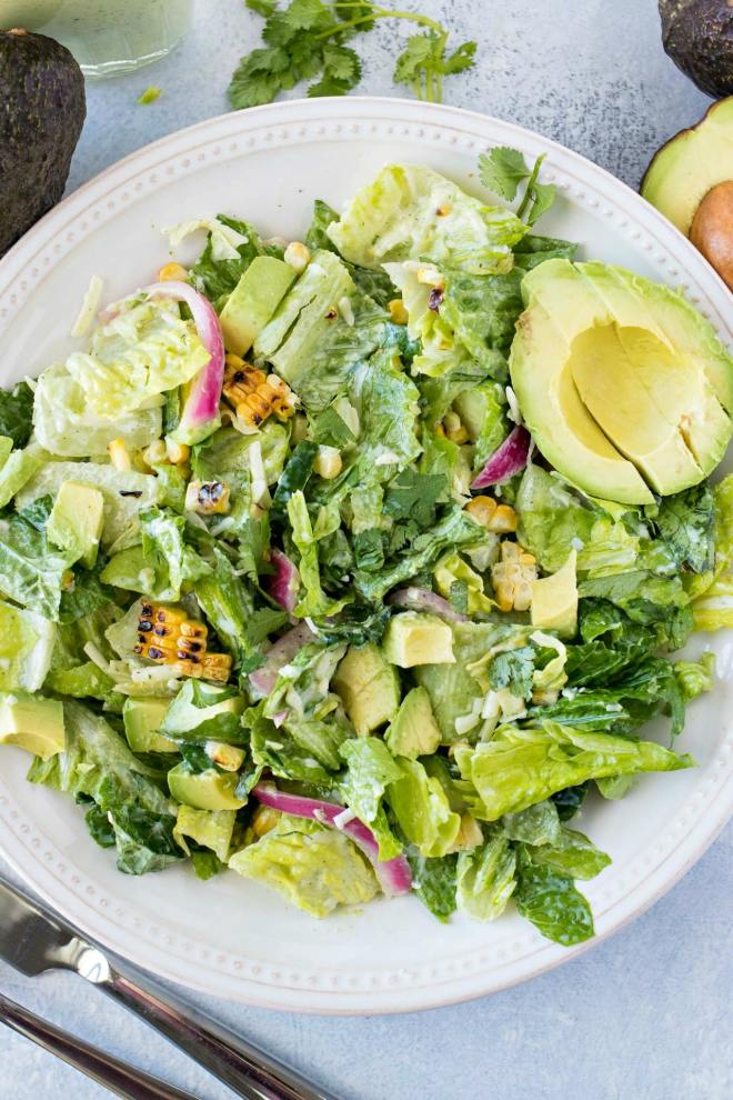 Avocado and Charred Corn Salad with Cilantro Ranch Dressing